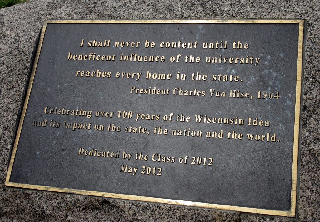 Bronze plaque of Charles Van Hise Quote