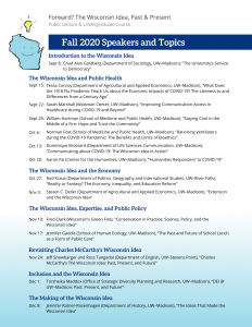 Fall 2020 Schedule of Speakers and Topics