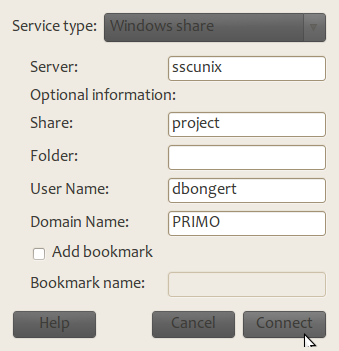 how to set connect to windows share drive from linux