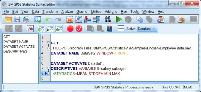 how to create spss syntax